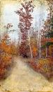 Autumn Woods Trail on Grunge Background Stock Photos