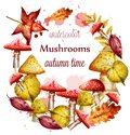 Autumn wreath with red Mushrooms watercolor Vector. Fall season round frames