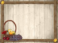 Autumnal background with wooden planks and thanksgiving basket rustic design Royalty Free Stock Photography