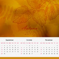 Autumnal calendar page of new 2013 year vector Stock Photography