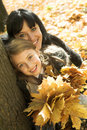 Autumnal family happy park 库存照片