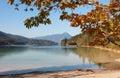 Autumnal lake shore walchensee, bavaria