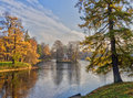 Autumnal landscape in the park and the first ice on the water Royalty Free Stock Photo
