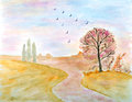 Autumnal Landscape Watercolor Stock Photos
