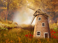 Autumnal landscape with a windmill colorful and deers Stock Photos