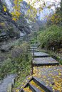 Autumnal mountain footpath Stock Images
