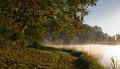 Autumnal park and pond waterside bank in the bright sunny morning Stock Photos