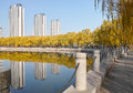 Autumnal park the scenery of longtan in taiyuan shanxi china Royalty Free Stock Image