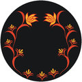 Autumnal pattern abstract drooping flower on black background Royalty Free Stock Photos