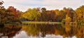 Autumnal pond in park beautiful landscape showing Stock Photography