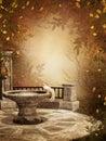 Autumnal ruins Stock Image