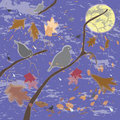 Autumnal scene with birds, sky ,leaf and moon Royalty Free Stock Photography