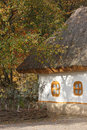 Autumnal scenery. Ukrainian hut. Royalty Free Stock Photography