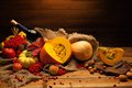 Autumnal still life thanksgiving day with bottle of wine Stock Photo