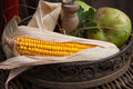 Autumnal stilllife with corn cob and apple Royalty Free Stock Photo