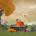 Autumnal sweet pic nic illustration with fruits and pumpkin Stock Images