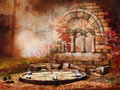 Autumnal temple ruins scenery with old fantasy Royalty Free Stock Photography