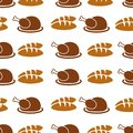 Autumnal Thanksgiving orange seamless pattern with turkey and bread illustration on white background