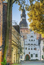 Autumnal view on old riga latvia colorful medieval street of Royalty Free Stock Image