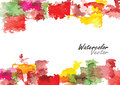 Autunm season abstract background vector watercolor brush design summer for card frame or green and yellow color summer time Stock Image