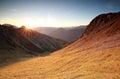 Autunm sunrise over mountains in alps austria Stock Photo