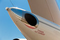 Auxiliary power unit exhaust airplane tail apu Stock Photography