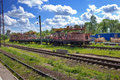 Auxiliary working train at station in rural areas the Royalty Free Stock Image