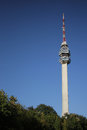 Avala tower and the green foliage of trees in front Stock Images
