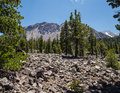 Avalanche area on mount lassen called chaos jumbles volcanic national park california Royalty Free Stock Images