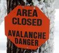 Avalanche Danger Sign Stock Photos
