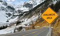 Avalanche and Sign Royalty Free Stock Photo