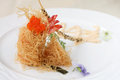 Avant garde fried prawn modern chinese cuisine version of shrimp Stock Photo