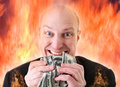 Avarice deadly sin of greed dollars Royalty Free Stock Photo