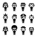 Avatar character set vector of each included different layer in eps file Stock Image