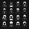 Avatar characters icons set users head white black reverse color silhouette portrait isolated vector illustration Royalty Free Stock Photography