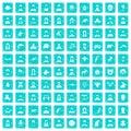 100 avatar icons set grunge blue Royalty Free Stock Photo