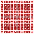 100 avatar icons set grunge red Royalty Free Stock Photo