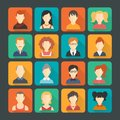 Avatar icons set social networks business private users pictograms solid colors design isolated flat shaded vector illustration Royalty Free Stock Image