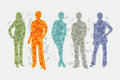 Avatar illustration people silhouettes vector textured of Royalty Free Stock Image