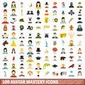 100 avatar mastery icons set, flat style
