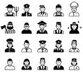 Avatar and People occupations icons. Human resources. Royalty Free Stock Photo
