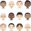 Avatar set head and shoulder people profile men faces illustration Royalty Free Stock Image