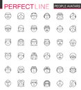 Avatar thin line web icons set. People head avatars outline stroke icons design. Royalty Free Stock Photo