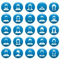 Avatar user vector icons set blue, simple style Royalty Free Stock Photo