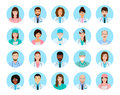 Avatars characters doctors and nurses set. Medical people icons of faces on a blue background. Royalty Free Stock Photo