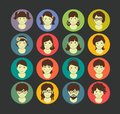 Avatars flat juniors girls icons young people in retro style Stock Photography