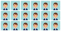 Avatars male emotions in flat design. Vector illustration.