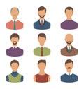 Avatars set front portrait of males isolated on white background Royalty Free Stock Photo