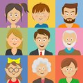Avatar, woman, man heads. People vector shape heads different ages in flat style