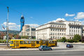 Avaz twist tower sarajevo bosnia and herzegovina august tram and cars passing by high school building in zmaja od bosne street Stock Photography